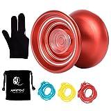 MAGICYOYO Responsive Yo-yo K7 Red Aluminum Yoyo Kids Beginners Yoyo Bag, Yoyo Glove 3 Yoyo Strings