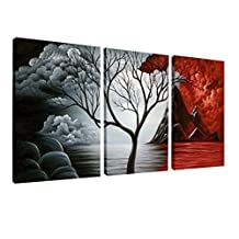 Wieco Art - The Cloud Tree Large 3 Panels Modern Stretched and Framed Giclee Canvas Prints Abstract Seascape Paintings Reproduction Sea Beach Pictures on Canvas Wall Art for Bedroom Home Decorations by Wieco Art