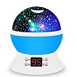 [UPGRADE] MOKOQI Rotating Star Sky Projection Night Lights Toys Table Lamps with Timer Shut Off & Color Changing For 1 Year Old Baby Girls Boys Bedroom Christmas Gift Baby Nursery Lights(Blue)