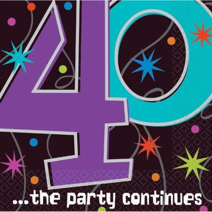 (The Party Continues 40th Birthday Lunch Napkins, 16ct)