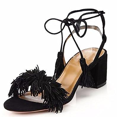 Womens Ladies Flat Block Heeled Shoe Fringed Toggle Loafer B017KMZ11S