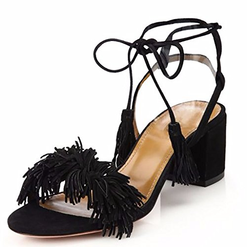 Jushee Suede Women's Black Block Up Sandals Lace Heel Fringed Dress 66rnxP