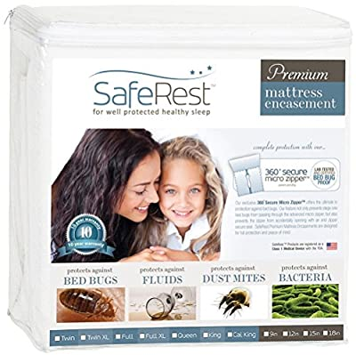 SafeRest Premium Zippered Mattress Encasement - Lab Tested Bed Bug Proof, Dust Mite Proof and Waterproof - Breathable, Noiseless and Vinyl Free