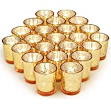 Volens Gold Votive Candle Holders Bulk, Mercury Glass Tealight Candle Holder Set of 72 for Wedding Decor and Home Decor