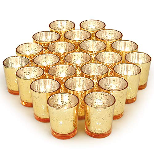 Tealight Holder Votive - Volens Gold Votive Candle Holders Bulk, Mercury Glass Tealight Candle Holder Set of 72 for Wedding Decor and Home Decor