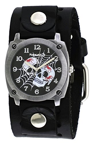 Nemesis #B931K Men's Web of Skulls Wide Black Leather Cuff Band Watch
