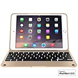Incipio ClamCase Pro for iPad mini 1 - 2 - 3 - ClamCase Pro Bluetooth Keyboard [100 Hrs] for iPad mini 1 - 2 - 3 - White Gold