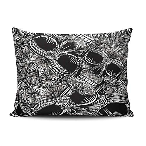 AIHUAW Home Decorative Cushion Covers Throw Pillow Case Black and White Skull Pillowcases Boudoir 12x16 Inches One Sided Printed (Set of 1)