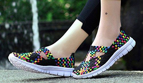 Sneaker trainieren Schwarz elastischer Höher Schuhe Leichter Plattform Trainer Sportwasserschuhe Muskelaufbau Fitness Slip Woven VECJUNIA Hollow On Damen aufsteigender gfROOa