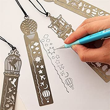 DIY Kids Student Stainless Steel Cute Creative Hollow Out Ruler School Tool Gift