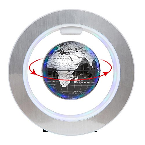 Black Holiday Craft - YANGHX Floating Globe World Map 4inch Rotating Magnetic Mysteriously Suspended In Air World Map Home Decoration Crafts Fashion Holiday Gifts (Black)