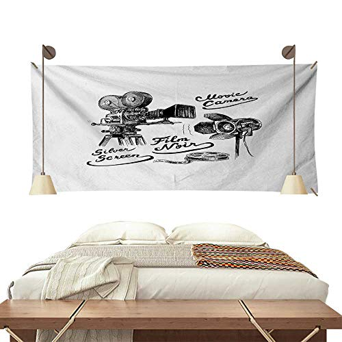 Jinguizi Movie Theater Pattern Tapestry Cinematography Themed Artwork with Old Camera and Equipment Silver Screen Gorgeous Tapestry 84W x 54L InchBlack White