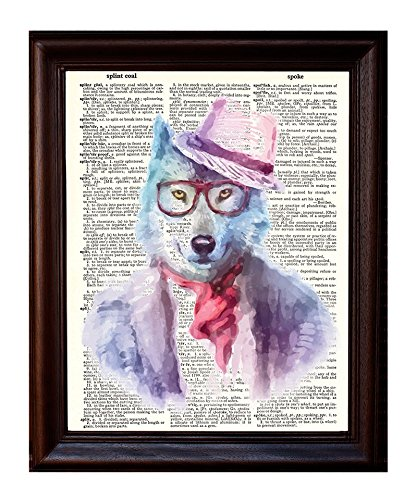 Dictionary Art Print Printed On Authentic Vintage Dictionary Book Page Fresh Prints of CT Hipster Wolf 8 x 10.5
