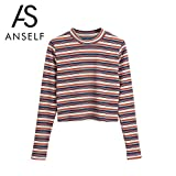 Anself Women Cropped Striped Pullover Sweaters Ribbed Knitted Long Sleeves Sheath Stretchy Jumpers Crop Knitting Top