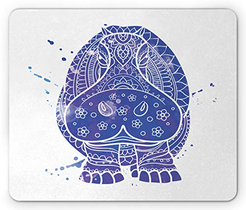 Ambesonne Hippo Mouse Pad, Ornamental Ombre Style Watercolor Effect on Abstract Hippo Animal Figure, Standard Size Rectangle Non-Slip Rubber Mousepad, Indigo Purple and White