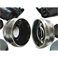 Digital 2x Telephoto and 0.45x Wide Angle 30mm Conversion Lens Set for Cameras and Video Camcorders