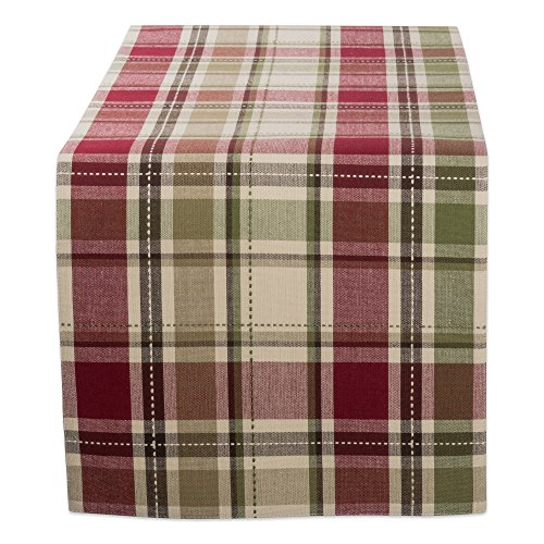 DII CBBB01336 Cotton Table Runner for Wedding, Birthday, Dinner Parties, Christmas, Holidays, or Everyday Use, 13x36, Homespun Plaid, 1 Unit