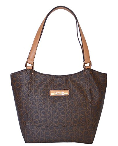 Calvin Klein Bag Monogram Canvas Tote Camel Handbag Bag (Www Calvin Klein)