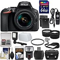 Nikon D5600 Wi-Fi Digital SLR Camera & 18-55mm VR DX AF-P Lens with 64GB Card + Case + Flash + Video Light + Battery & Charger + Tele/Wide Lens Kit
