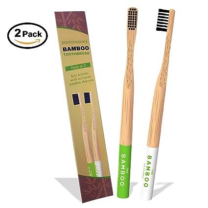 Cepillo de dientes de bambú con infusión de carbón biodegradable, cerdas respetuosas con el medio