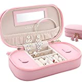 JL LELADY JEWELRY Small Jewelry Box Organizer Travel Jewelry Case Portable Faux Leather Jewelry Boxes Storage Case with Mirror for Women Girls, Gift Box Packing (Pink)