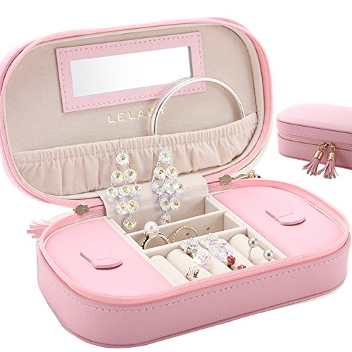 JL LELADY JEWELRY LELADY Small Jewelry Box Portable Travel Jewelry Case Organizer Faux Leather Storage Holder with Mirror for Earrings Rings Necklaces, Gifts for Women Girls Small Size (Pink) (New Pink Leather Jewelry)