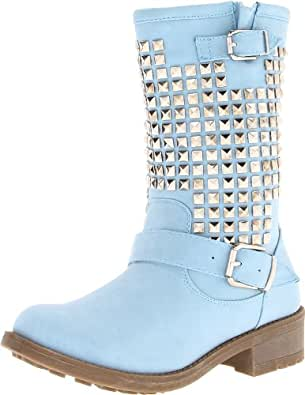 Wanted Shoes Women's Motor Motorcycle Boot,Blue,5.5 M US
