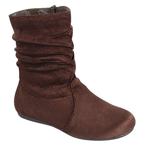 Calf Flat Zipper 03 Brown Side Heel Slouch Fashion Ankle Women's Boots qUwCFF