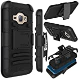 J1 2016 Case, Zenic(TM) Hybrid Full-body Protective Case Cover with Kickstand & Belt Clip Holster Combo for Samsung Galaxy J1 J120 (4.5 inch ) / Amp 2 / Express 3 / Luna 2016 (Black)