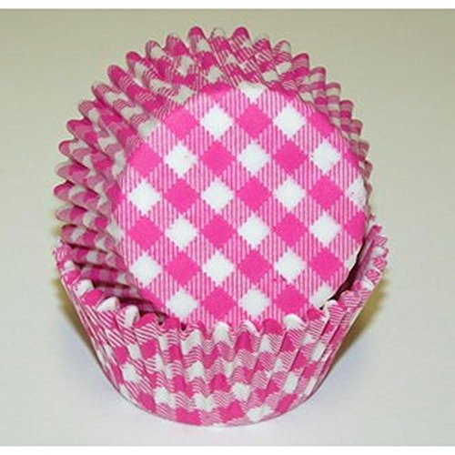- 50pc Gingham Design Hot Pink Standard Size Cupcake Baking Cups Liners Wrappers