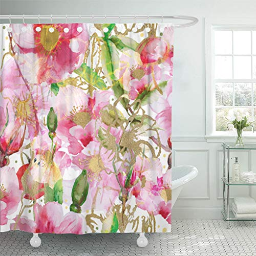 Emvency Shower Curtain Luxury Pink Gold Watercolor Flowers Rose Beautiful Berry Bloom Shower Curtains Sets with Hooks 72 x 72 Inches Waterproof Polyester ()