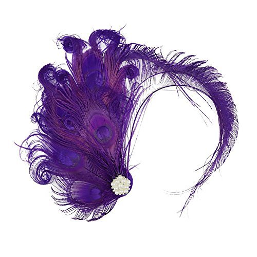 Song Qing 1920s Peacock Feather Costume Hair Clip Flapper Headpiece Headwear]()