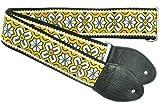 Souldier GS0944BK02BK Custom USA Handmade Greenwich Layla Electric Guitar Strap - Yellow/Black