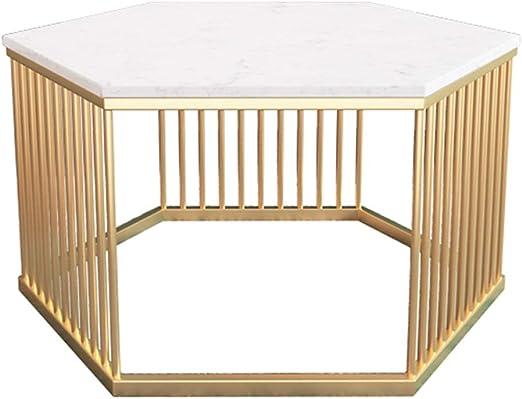 Negociación Hexagonal Tabla/Sala de Estar Mesa, a Cielo Abierto del diseño, encimeras de mármol Blanco, Moderno Minimalista Muebles, Conveniente for el hogar recepción Restaurante, Oro: Amazon.es: Hogar