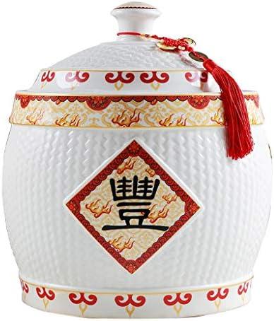 セラミックライスバケット家庭用密閉型バケット防湿および防虫ライスバケット、全粒ふたなし 虫とカビ 保存容器 (Color : 白, Size : 7.5kg)