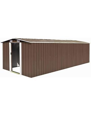 Tidyard Caseta Jardín Exterior de Acero Galvanizado con 4 Ventilaciones y 2 Puerta para Almacenar Amplia