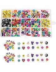 Urhause Clay Beads Set van kleikralenset DIY kralenset armbanden zelf maken 300 stuks kleurrijke smiley gezichten, vruchten, dieren, cijfers, bloemen, liefdesparels stress reliëf speelgoed voor armband oorbel