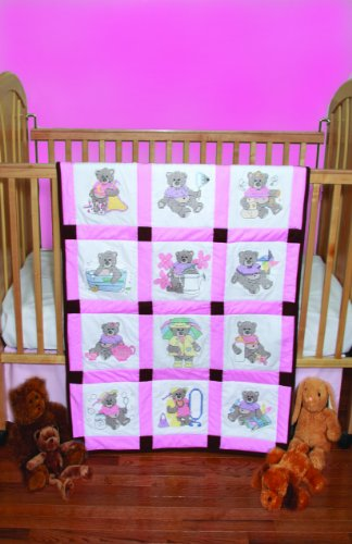 Fairway 92320 Baby Quilt Block, Cross Stitch Girl Bear Design, Twelve Blocks, White