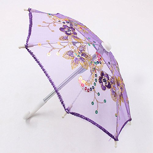 (Studyset Lace Sequins Umbrella for 16-18 Inch Barbie Doll Accessories Girl Gift Kids House Toy)