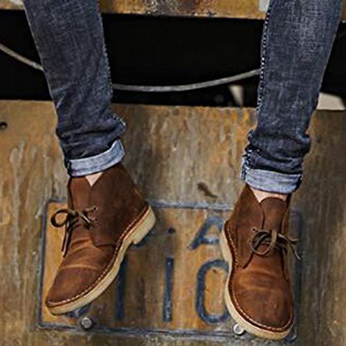 Martin Desert Casual Stivali Stivali Mens Stivali Boots Utensili Cowboy Pelle Lace da Up Retro Brown Moda di SSxzrq8O