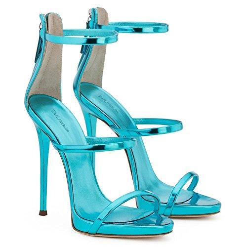 45 Alto Blue Sexy Mules blue Donne Stiletto Toe Zhang8 Chiaro Tacco Festa Cerniera Sandali Scarpe Open 8ng6q4
