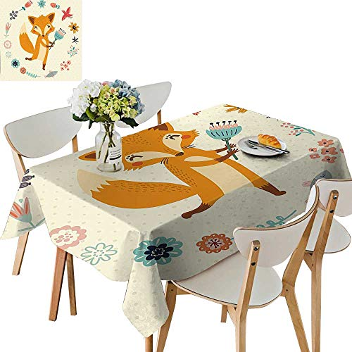 Square/Rectangle Polyester Animal with Floral Flowers Leaves Fish Detailed Frame Eggshell Coral Almond Green Peach for Indoor and Outdoor Use,52x 52 inch ()