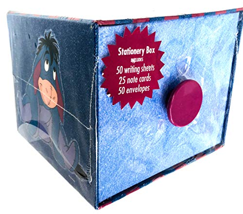 (Eeyore Stationery Box Drawer in Jean Effect with 50 Sheets & Envelopes Winnie The Pooh)