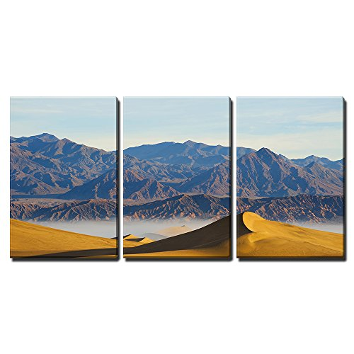 """wall26 - 3 Piece Canvas Wall Art - Deserts Sand Dune Death Valley - Modern Home Decor Stretched and Framed Ready to Hang - 24""""x36""""x3 Panels"""