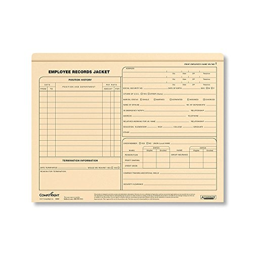 (ComplyRight Employee Records Jacket Standard Letter Size, Pack of 25 (A5001AMZ))