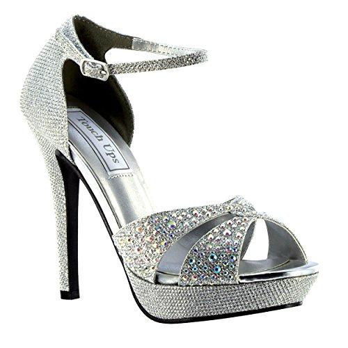"""XINJING-S Silber Glitzer Strass Damen Prom Hochzeit Braut Sandale 4"""" High Heel Schuh ,8"""