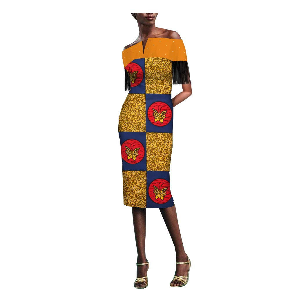 3475j African Ankara Print Women Dress with Tassel and Rhinestone Slash Neck Knee Length 100% Batik Cotton Made AA1825077