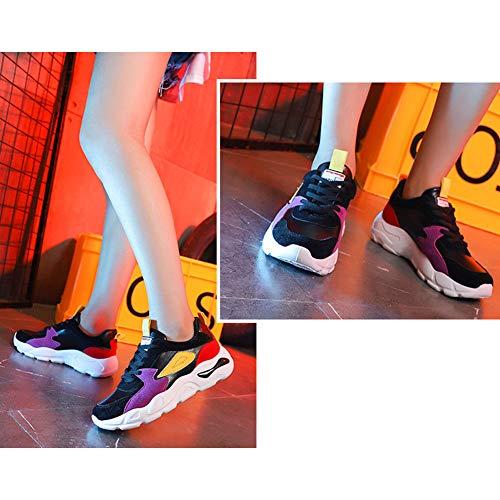 Casuale Retro A Scarpe Jogging Moda Donna Piattaforma Stringate Ginnastica Chunky Sport Tenthree Basso Nero Outdoor Trainers Piedi Da qHwn6Wv7