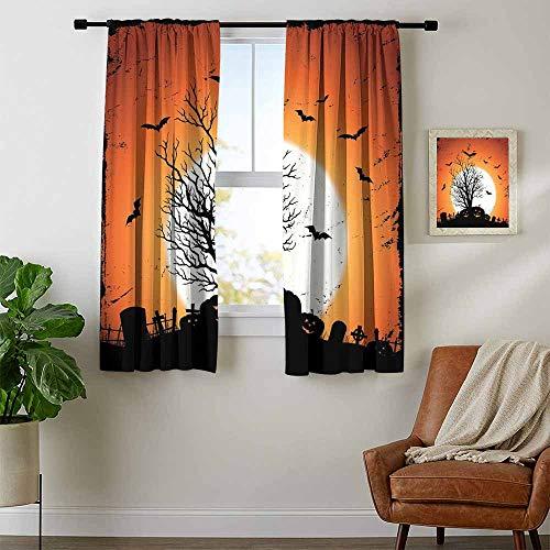 Mozenou Vintage Halloween, Room Darkening Wide Curtains, Grunge Halloween Image with Eerie Atmosphere Graveyard Bats Pumpkins, Curtains for Kitchen, W63 x L72 Inch Orange Black -