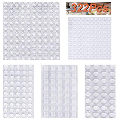 322Pcs Cabinet Door Bumpers,Self Adhesive Clear Rubber Bumpers Pads,Noise Dampening Buffer Pads - 5 Sizes ()